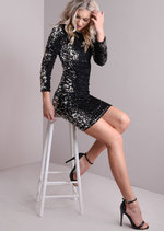 Scoop Back Sequin Mini Dress Black