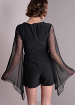 Sheer Bell Sleeve Front Cut Out Playsuit Black