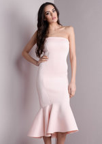 Strapless Mermaid Fishtail Off Shoulder Midi Bodycon Dress Pink