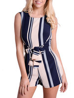 Striped Sleeveless Front Tie Playsuit Navy/ Beige