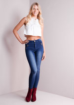Ribbed Detailing Skinny Jeans Blue