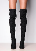 Thigh High Tie Back Faux Suede Heeled Boots Black