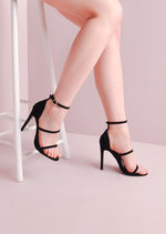 Three Straps Barely There Stiletto Sandals Black