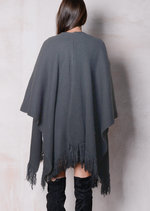 Throw On Fringed Knitted Blanket Poncho Grey