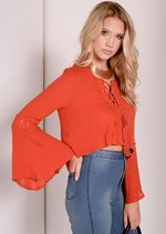Urania Burn Orange Gypsy Crop Top