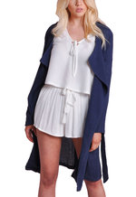 Waterfall Light Belted Trench Coat Navy