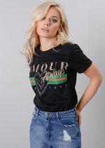 Amour Always French Slogan T-Shirt Black