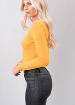 Asymmetric Long Sleeve Bodysuit Mustard Yellow