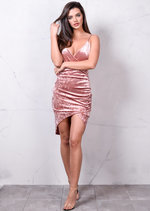 Asymmetric Wrap Plunge V Neck Crushed Velvet Bodycon Dress Dusty Pink