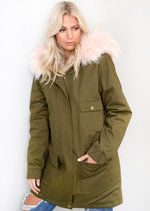 Baby Pink Faux Fur Hooded Fully Lined Parka Coat Khaki Green