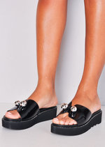 Ball Detail Embellished Flatform Sliders Black