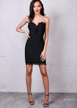 Bandage Lace Bust and Hem Detail Bodycon Dress Black