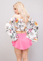 Shirring Bardot Bell Sleeved Stretch Floral Crop Top White
