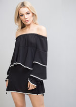 Bardot Frill Embroidered Long Sleeve Top Dress Black