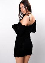 Bardot Frill Knitted Bodycon Dress Black