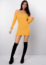 Bardot Frill Knitted Bodycon Dress Mustard Yellow