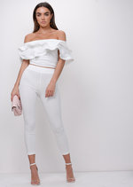 Bardot Frill Top and Trousers Co Ord White