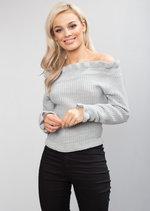 Bardot Knitted Frill Detail Jumper Grey