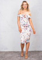 Bardot Off The Shoudler Floral Bodycon Pencil Midi Dress Pink
