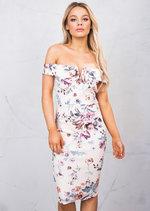 Bardot Off The Shoudler Floral Bodycon Pencil Midi Dress Pink