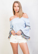 Bardot Off the Shoulder Bell Sleeve Pom Pom Crop Top Blue