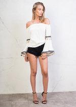 Bardot Off the Shoulder Bell Sleeve Pom Pom Crop Top White