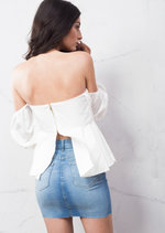 Bardot Puff Sleeve Frill Crop Top White