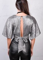 Batwing Plunge Neckline Wrap Over Metallic Crop Top Silver Grey