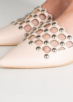 Beaded Caged Cut Out Pointed Toe Mules Nude Beige