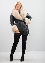 Beige Faux Fur Collar with Cuff Biker Faux Leather Jacket Black