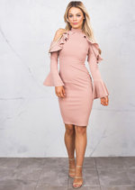 Bell Sleeve Frill Cold Shoulder Bardot High Neck Bodycon Dress Pink