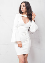 Bell Sleeve Plunge Neck Bodycon Dress White