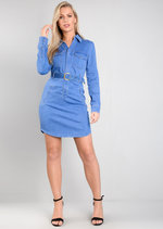 Belted Denim Shirt Dress Blue