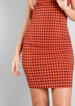 Black Checked Cami Bodycon Dress Red