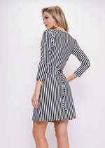 Stripe Wrap Over Skater Dress White