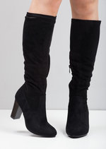 Ruched Knee High Heeled Boots Black