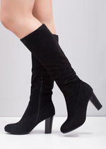 Block Heel Faux Suede Ruched Knee High Boots Black