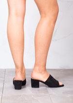 Block Heels Suede Heeled Mule Sandals Black
