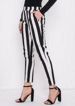 Bold Stripe Slim Leg Trousers Multi Black