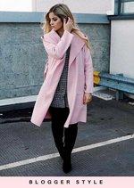 Longline  Waterfall Tie Waist Hooded Jacket Coat Pink
