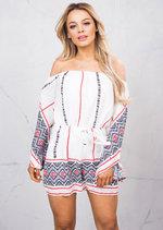 Border Print Flare Sleeve Off Shoulder Bardot Playsuit White