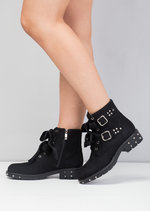 Bow Detailed Lace Up Studded Biker Ankle Boots Black
