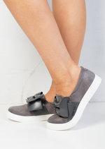 Bow Faux Suede Slip On Sneaker Pumps Grey