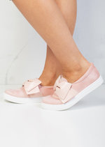 Bow Faux Suede Slip On Sneaker Pumps Pink