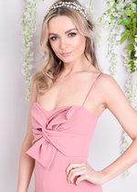 Bow Front Strappy Jumpsuit Pink