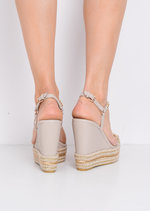 Braided Faux Suede Wedge Sandals Beige