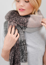 Brushed Check Scarf Multi Grey