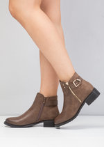 Buckle Faux Suede and Leather Chelsea Boots Brown