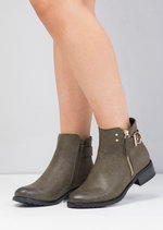 Buckle Faux Suede and Leather Chelsea Boots Khaki