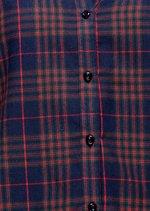 Dip Hem Button Front Check Shirt Navy Blue